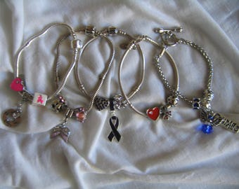 Cancer and Heart Disease Awareness Bead Sets for All European Charm Bracelets...by TLCcharms