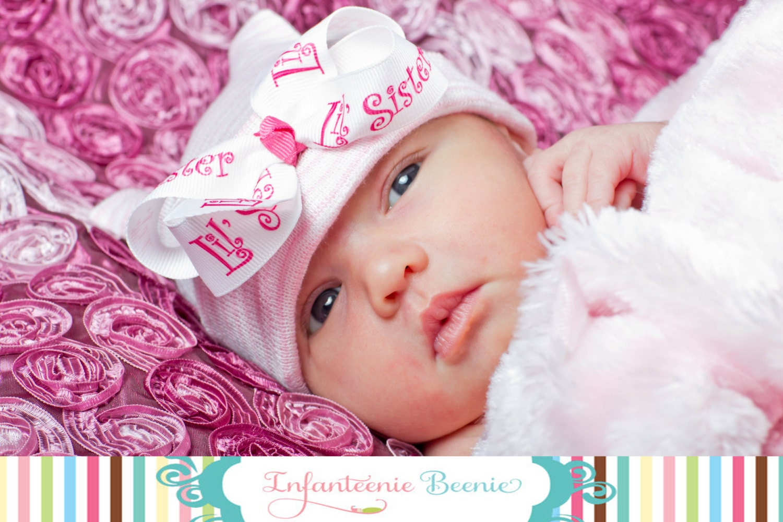 Little Sister Newborn Hospital Hat For Baby Girl Baby Girl