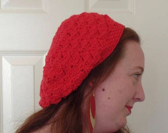 Red Cotton Crochet Slouch Hat