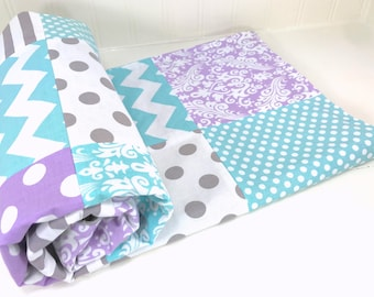 Blanket, Nursery Decor, Patchwork Quilt, Baby Quilt, Minky Baby Blanket, Baby Gift, Purple, Lavender, Gray, Grey, White, Aqua, Baby Girl