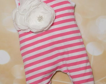 Baby Girl Infant Pink and White Stripe Sleeveless Layette Cotton Baby Romper with Beautiful Large Flower