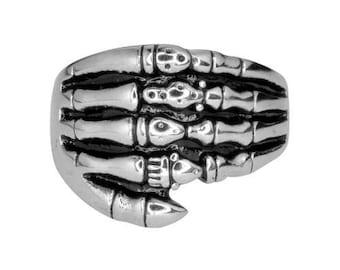 GentsSkeleton Hand Ring Stainless Steel Motorcycle Biker Jewelry