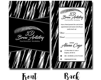 Pre-Made Modern Black and White Brush Microblading Beauty Salon Eyebrow Permanent Makeup Technician Cosmetologist Business Cards