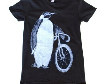 Penguin with a bicycle - Womens T Shirt, Ladies Tee, Tri Blend Tee, Handmade graphic tee, sizes s-xL