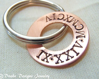 Roman numeral keychain personalized anniversary keychain