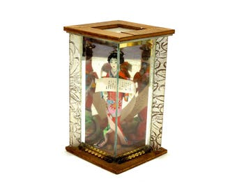 VINTAGE: Japanese Geisha Doll in Glass Box - Shadow Box - Made in Japan - Silk Doll - SKU 26-C2-00008944
