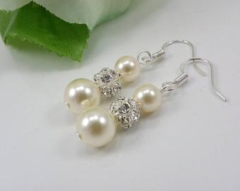 Cream Bridal Earrings, Ivory Pearl Earrings, Sterling Silver Wedding Earrings, White Pearl Earrings, Long Pearl Earring, bridesmaid gift