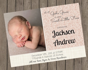 Birth Announcement | All Of  God's Grace | Pink Lace (5x7)