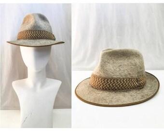 Vintage Fur Felt Hat // VTG Huckel Fedora / Beige Grey Fur Fedora / 50s 60s Fedora / 1950s 1960s Mens Fedora