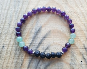 Genuine semi-precious amethyst and Jade gemstone beaded stretch bracelet lava stone aromatherapy diffuser