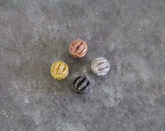 CZ Micro Pave 10mm Twisted Hollow Round Beads