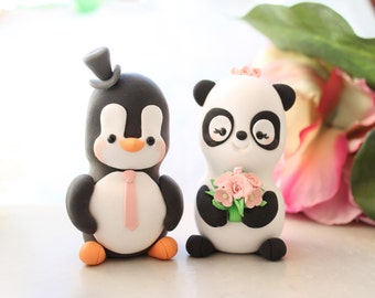 Unique wedding cake toppers Panda, Penguin - funny bride and groom figurines wedding gift cute personalized elegant black white pink