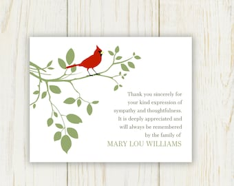 Red Bird Funeral Thank You Card - Digital - sympathy card bereavement note