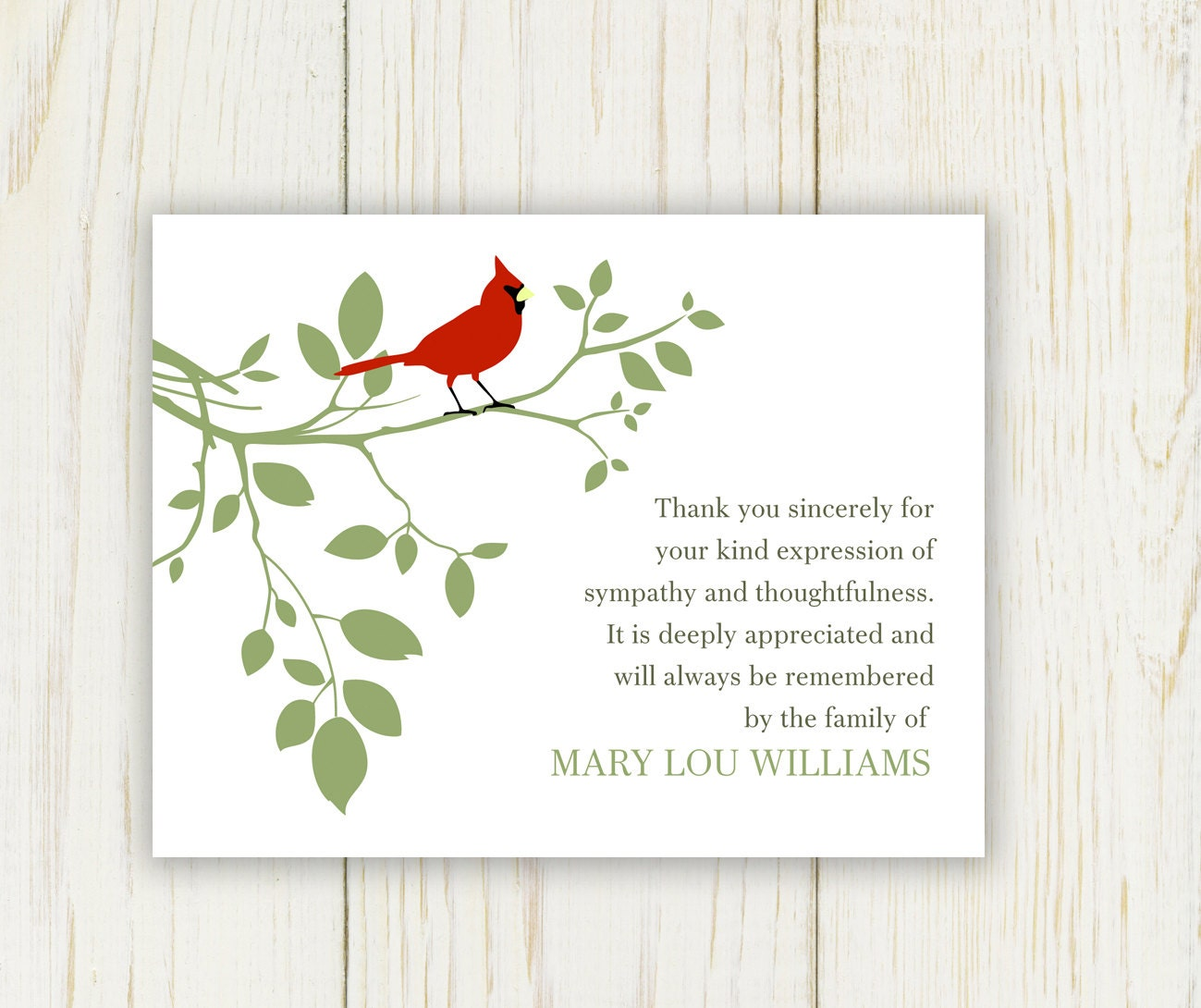Red bird funeral thank you card digital sympathy card zoom izmirmasajfo Gallery