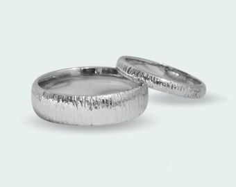 His and hers matching wedding set, organic texture solid white gold