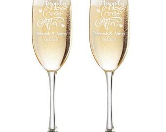 Personalized Wedding Flutes,  2 Toasting Flutes, Engraved Wedding Flute, Happily Ever After Toasting Flutes,  Toasting Champagne Flutes