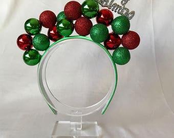 Merry Christmas ornament headband, Christmas headband adult, Christmas hair accessories, Whoville headband, holoday accessories, tacky hair