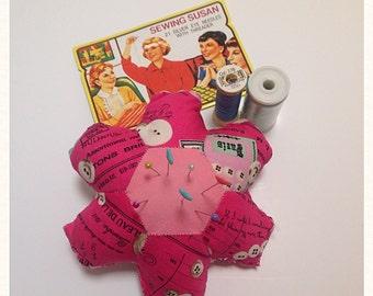 Vintage style pink pincushion