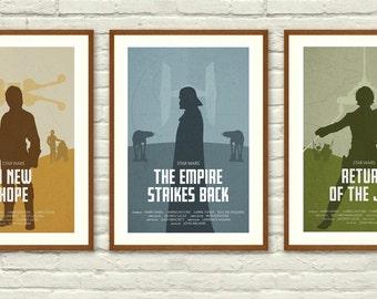 Star Wars Original Trilogy Minimalist Posters Star Wars Wall art Printable Start Wars Poster Nursery Decor Instant Download & Star wars wall art | Etsy