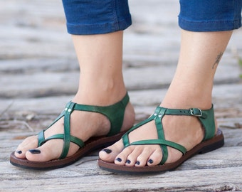 Green Leather Sandals, Green Sandals, Summer Shoes, Flat Sandals, Free Shipping