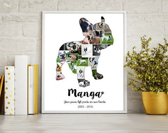 French bulldog Dog Collage gift - Pet Memorial Pet Loss  - Any dog breed Photo Collage wall art poster sign gift - DIGITAL FILE!