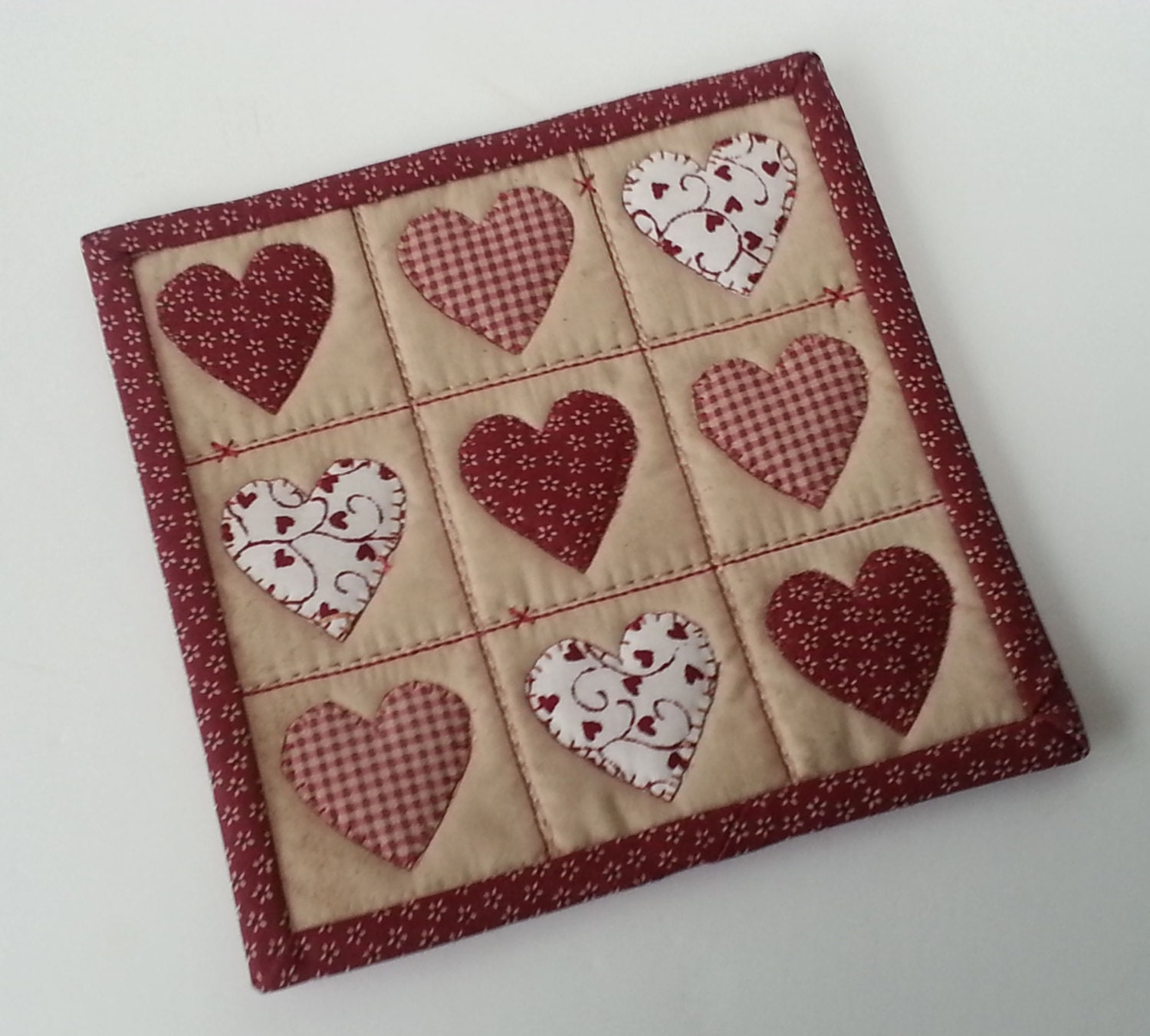 MUG RUG PATTERN Hearts And Stitches Mug Rug Pattern Valentine