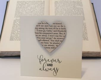 Handmade Upcycled Recycled Wuthering Heights Emily Bronte Heart Card with a hand stamped romantic Valentines Day Quote