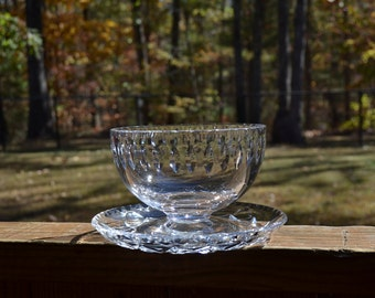 Crystal Sauce Jelly Bowl with Underplate Cut Glass Elegant Dining PanchosPorch