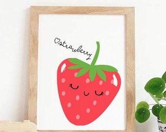 Cute Strawberry print,Nursery wall art,cute fruit decor,fruit nursery print,Kitchen Wall Art,fruit decor,Nursery decor SALE,Baby nursery art