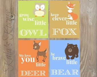 WOODLAND Nursery Decor - Forest Nursery art, Forest Animals nursery, Woodland Animals Nursery, Playroom wall art, Playroom art, boys nursery