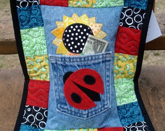 Yellow Sunflower Red Ladybug Recycled Denim Quilted Tooth Fairy Pillow