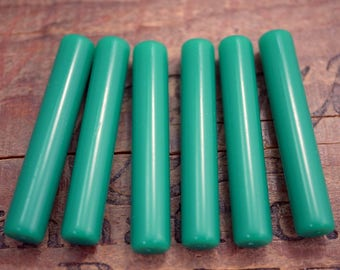 Quality Vintage Green Acrylic Beads Long Tube Beads Green Onyx Color Tube Bead (4) SV30