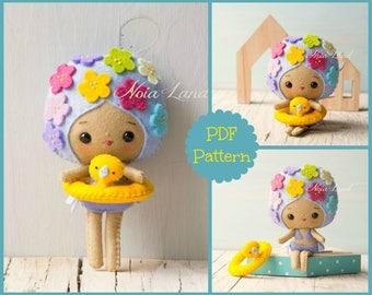 PDF. Summer girl. Plush Doll Pattern, Softie Pattern, Soft felt Toy Pattern.