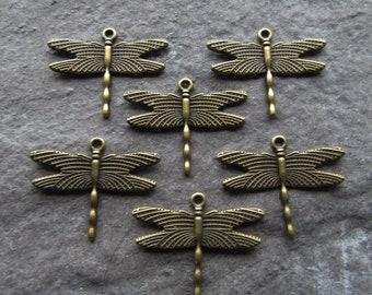 Large Dragonfly Charms Pendants, 28x35mm, Antique Bronze Insect