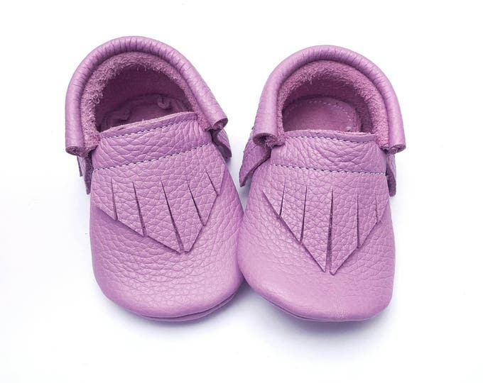 Baby Girl Shoes - Taffy Purple Moccs - baby shoes - baby moccs - moccasins - crib shoes - leather moccs - toddler shoes - baby booties