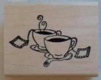 Tea Cups Rubber Stamp - 89M05