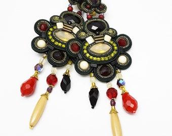 Clip On Earrings, Soutache Earrings, Clip Earrings, Long Earrings, Unique Earrings, Soutache Jewelry, Statement Earrings, Green Earrings