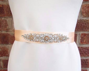 Wide Opal Pearl White Rose Gold Rhinestone Bridal Wedding Dress Belt Silver 4153