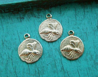 Vintage Style Raw Brass Hornet or Bee Round Charm Stamping Drops - 6