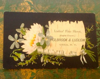 Victorian Trade Card Black Background Ladies Shoes Vintage Advertising Holbrook & Ludlow Utica NY