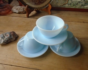 Cups coffee Made in France DURALEX blue milk glass - 50's