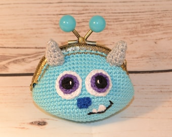 Wallet James Sullivan - Sulley (monsters and company) / James P. Sullivan (monsters and cie) crochet purse