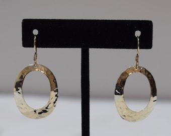 Earrings Sterling Silver Oval Hammered Hoop Dangle Earrings 46mm