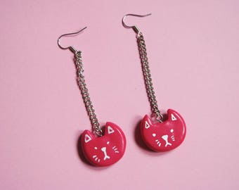 Medium Sized pink cat earrings