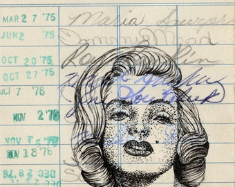 Marilyn Monroe Upcycled Library Card Print