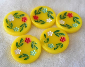 Set of 5 VINTAGE Painted Flower Wreath Yellow Glass Cabochon Discs