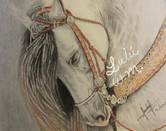 beautiful, Horse, drawing, pastel, pencil, technique, printing