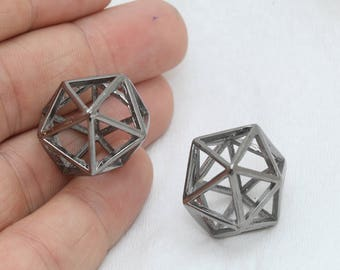 21mm Gunmetal Open Cube Beads, 3d Cube Beads, Gunmetal Geometric Charms , FRY69