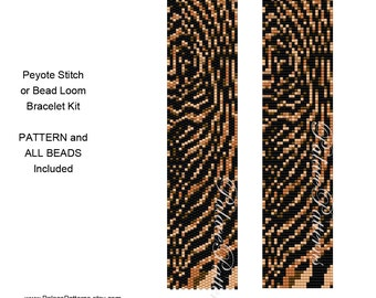 Tiger Stripes Bracelet Beading Kit P26 - Tiger Stripes Pattern and all Delica Beads Included for Peyote Stitch or Loom Weaving