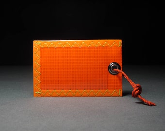Neon Orange Luggage Tag - Rad & Rugged - Sailcloth - Vegan